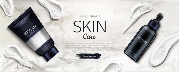 Botellas de cosméticos, cuidado de la piel, publicidad, línea de belleza