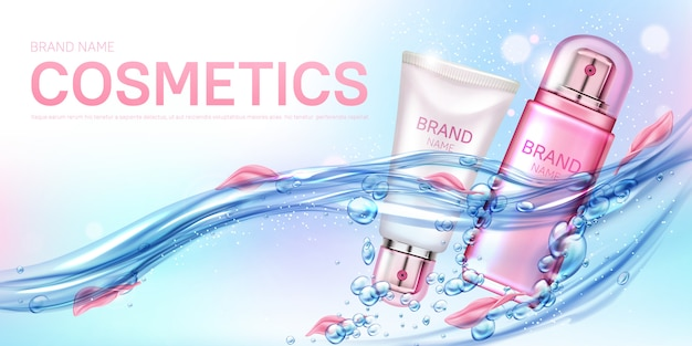 Botellas de cosméticos flotando en agua con banner de pétalos