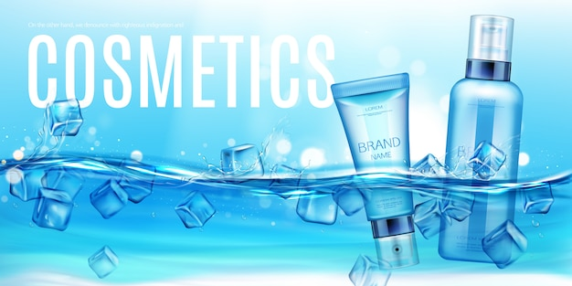 Botellas de cosméticos flotando en agua con cubitos de hielo banner