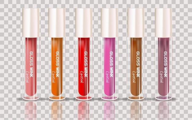 Botellas de cosméticos marrones aisladas sobre fondo transparente