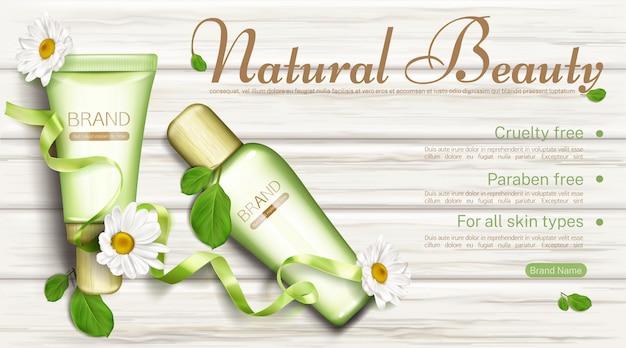 Botellas de cosméticos naturales con plantilla de banner de manzanilla