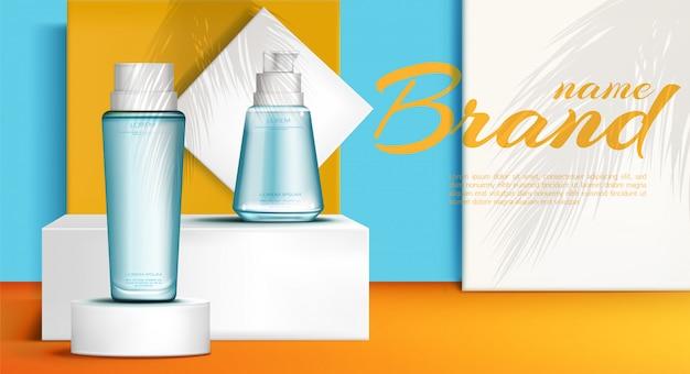 Botellas de cosméticos en podio banner