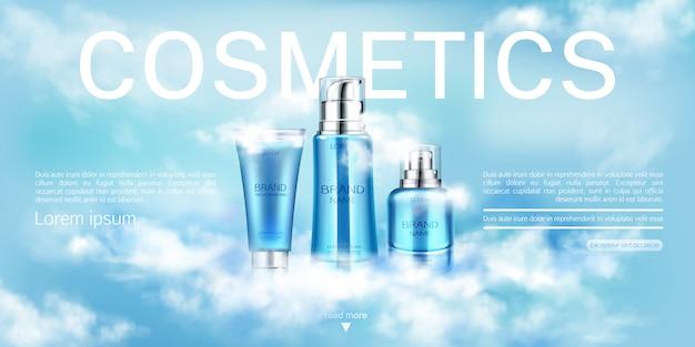 Botellas de cosméticos producto de belleza, plantilla de banner