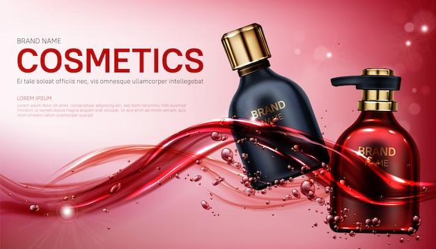Botellas de cosméticos de productos de belleza maqueta banner.