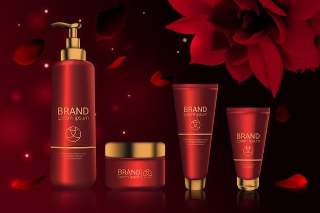 Botellas de cosméticos rojos con paquete de logo