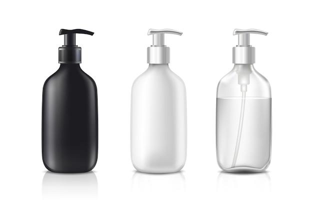 Botellas de cosméticos en vidrio blanco negro y transparente.
