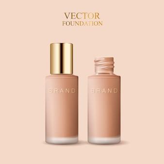 Botellas de cosméticos de vidrio esmerilado en blanco para usos, ilustración