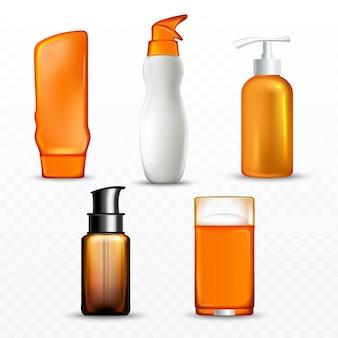 Botellas de crema de protección solar