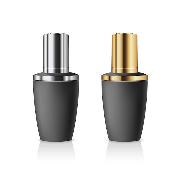 Botellas con cuentagotas productos negros, tapa de botella plateada y dorada