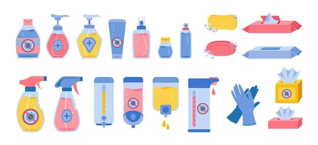 Botellas desinfectantes de desinfección, conjunto de dibujos animados, colección plana de coronavirus, gel de lavado médico de higiene, aerosol, toallita húmeda, jabón líquido y servilleta, guante de goma