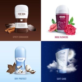 Botellas de desodorante 2x2 concepto conjunto de perfume con aroma a canela picante y flores rosas realistas