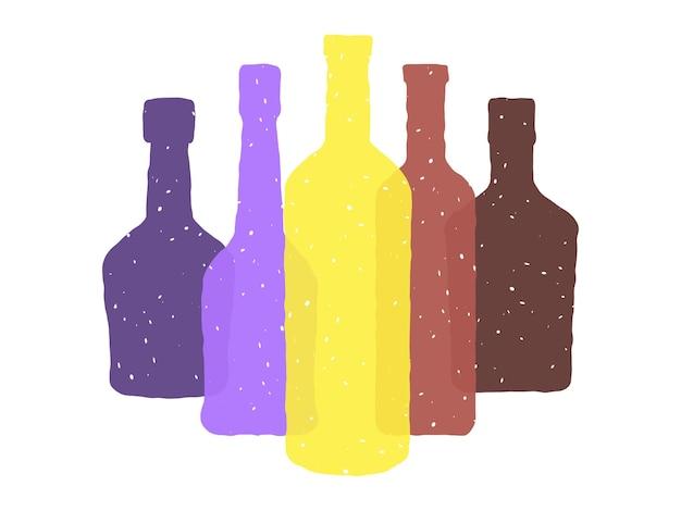 Botellas de diferentes formas en un estilo tosco.