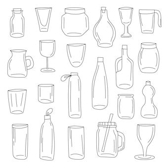 Botellas doodle conjunto de iconos. colección de ilustración de vector de olla de vidrio. tarros estilo de arte de línea dibujada a mano.