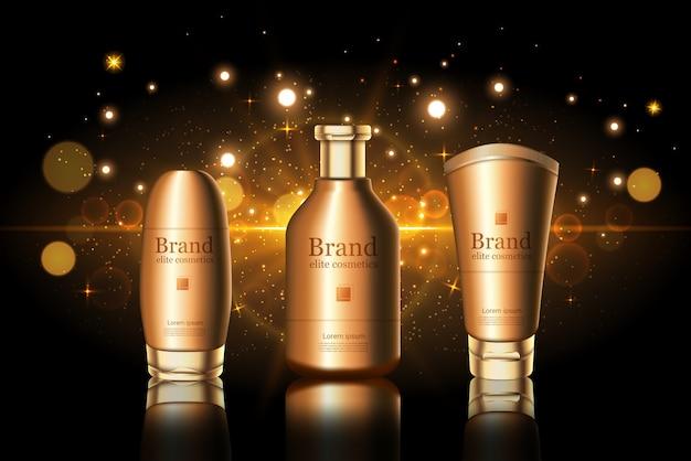 Botellas doradas para el cuidado de la piel con maqueta con el logotipo de la marca. anuncio