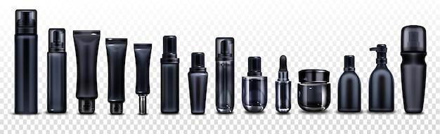 Botellas, frascos y tubos de cosméticos negros para cremas, aerosoles, lociones y productos de belleza