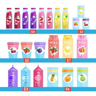 Botellas frescas de zumos, leche y jogurt logotipos establecen concepto de productos de granja de alimentos naturales aislados