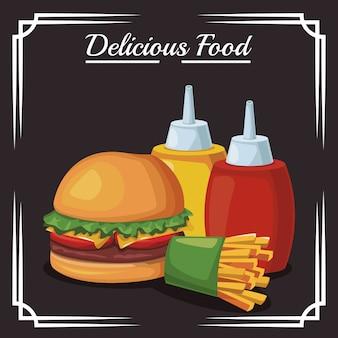 Botellas de hamburguesas y papas fritas y salsas