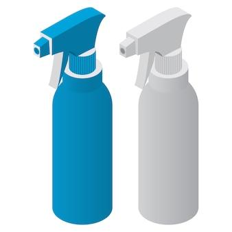 Botellas isométricas con detergente para limpieza con spray.