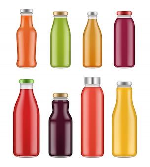 Botellas de jugo frascos y envases transparentes para bebidas y alimentos líquidos coloreados.