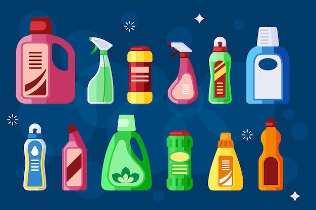 Botellas de limpieza. detergente líquido químico sanitario en envases de plástico.