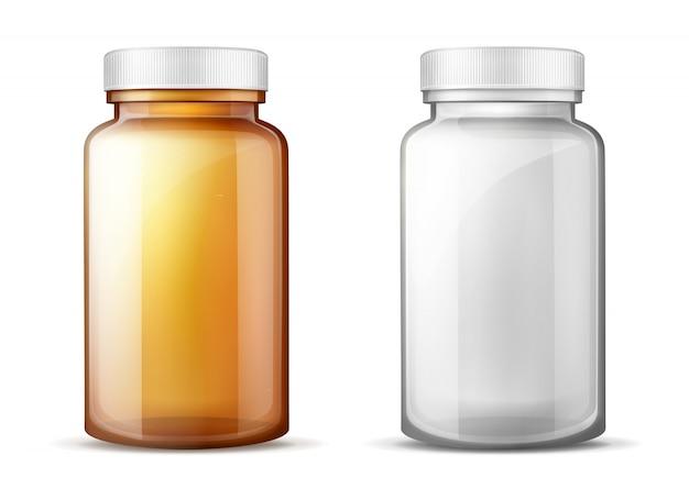 Botellas para medicamentos conjunto de vectores realistas