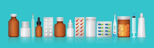 Botellas médicas y de asistencia médica, pastillas y medicamentos.
