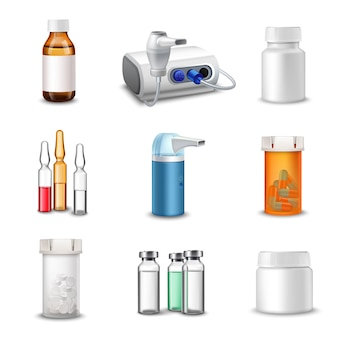 Botellas médicas realistas.