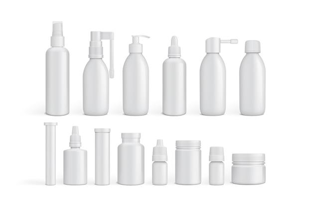 Botellas de medicina de embalaje vacío blanco aislado sobre fondo blanco.