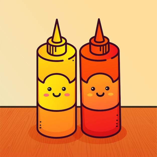 Botellas de mostaza y ketchup.