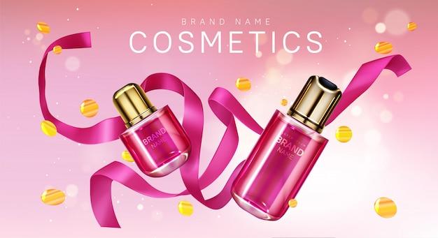 Botellas de perfume con cinta rosa y confeti.