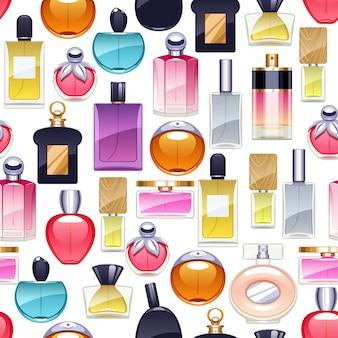 Botellas de perfume iconos de patrones sin fisuras.