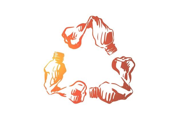 Botellas de plástico vacías en la ilustración de forma de emblema de reciclaje