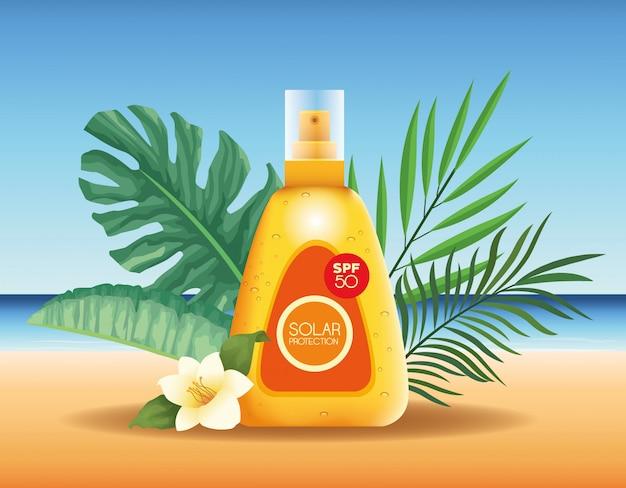 Botellas de protección solar producto para publicidad de verano.