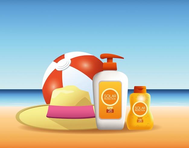 Botellas de protección solar productos para publicidad de verano.