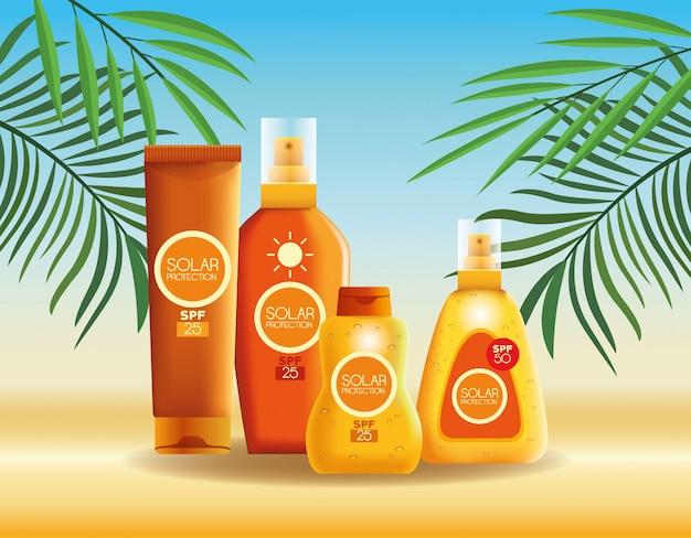 Botellas de protección solar productos para verano.
