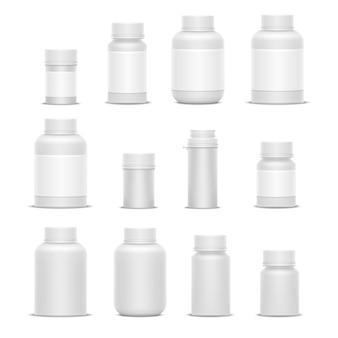 Botellas realistas de la medicina del empaquetado plástico del vector para las píldoras o las cápsulas de las vitaminas de los cosméticos. bosquejo