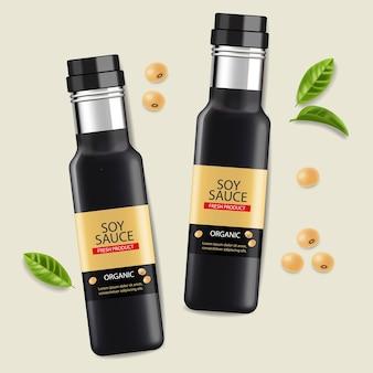 Botellas realistas de vector de salsa de soja. diseño de etiquetas de colocación de productos elementos 3d