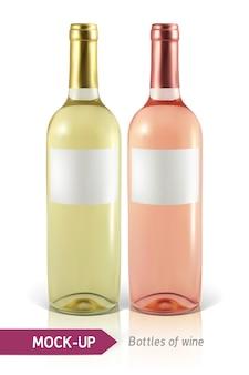 Botellas realistas de vino blanco y rosado sobre un fondo blanco con reflejo y sombra. plantilla para etiqueta de vino.