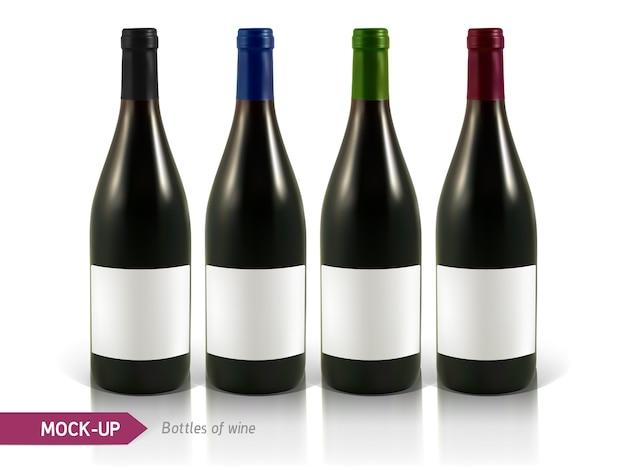 Botellas realistas de vino blanco y tinto sobre un fondo blanco con reflejo y sombra. plantilla para etiqueta de vino.