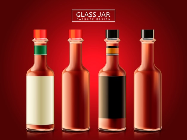 Botellas de salsa en blanco, fondo rojo oscuro
