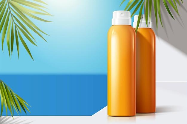 Botellas de spray de sol en blanco en el balcón blanco con hojas de palma verde, ilustración 3d
