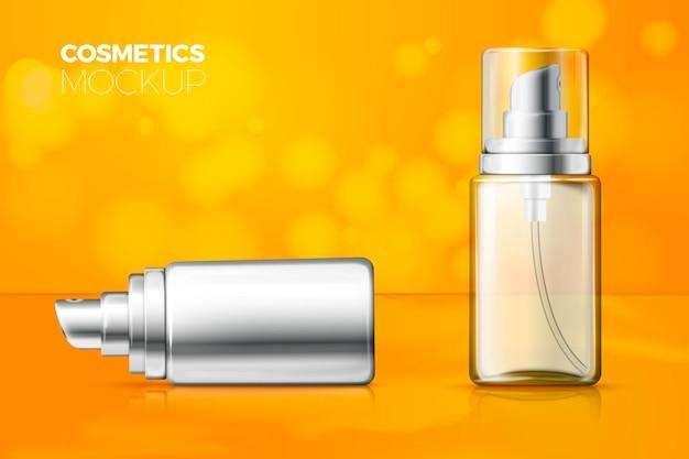 Botellas de spray transparentes y metálicas realistas 3d sobre fondo brillante con reflejo