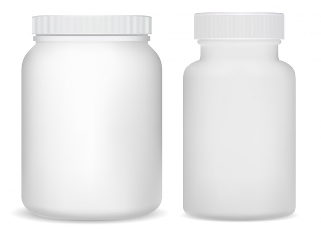 Botellas de suplemento de plástico blanco. tarro deportivo