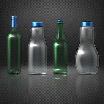 Botellas vacías de vidrio vector