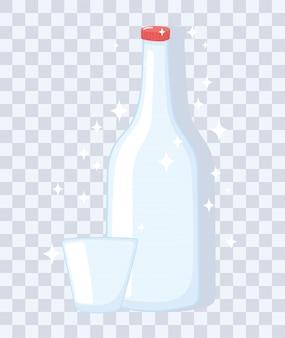 Botellas de vasos de plástico o vidrio, botella de vino y taza vacía ilustración vectorial