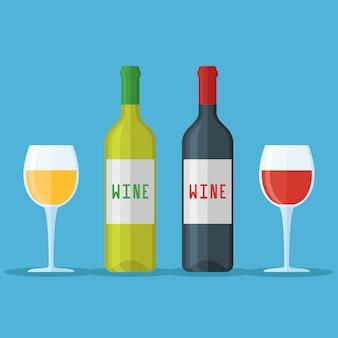 Botellas y vasos de vino tinto y blanco aislado. ilustración de estilo plano