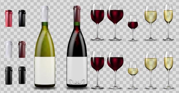 Botellas y vasos de vino tinto y blanco. realista