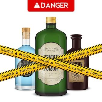 Botellas de veneno realistas y cinta de cordón con ilustración de vector de peligro de texto