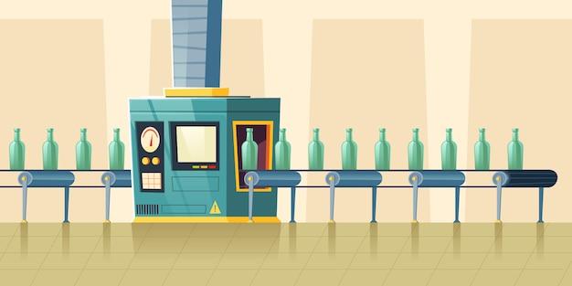Botellas de vidrio en cinta transportadora, dibujos animados