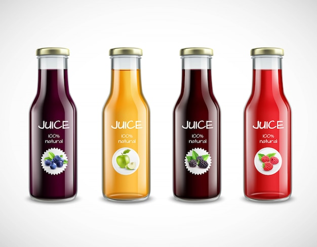 Botellas de vidrio con colección de jugo de frutas